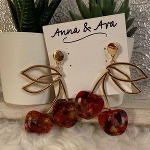 Anna & Ava Cherry Resin Gold Earrings